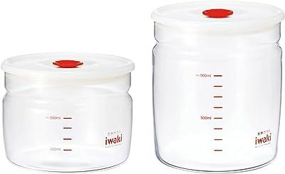 iwaki(イワキ) 耐熱ガラス 密閉容器 キャニスター 径12.4×高さ9.5cm 550ml KT7001MP-R フタをしたまま電子レンジ使用可 & 耐熱ガラス 密閉容器 キャニスター 径12.4×高さ13.7cm 1L KT7002MP-R フタをしたまま電子レンジ使用可 【セット買い】
