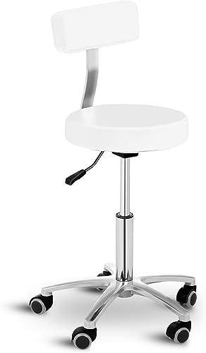 Physa Tabouret à roulettes Dossier Coiffeur Travail Terni blanc (Vérin Gaz, Hauteur 45-58 cm, Max 150 Kg, Revêtement PVC, Blanc)