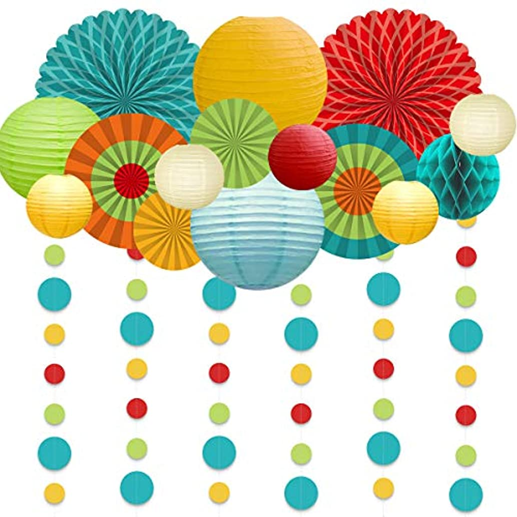 NICROLANDEE Fiesta Party Decorations Party Supplies Hanging Paper Fans Lantern Dot Garland Home Decoration, Mexican Cinco De Mayo Decorations