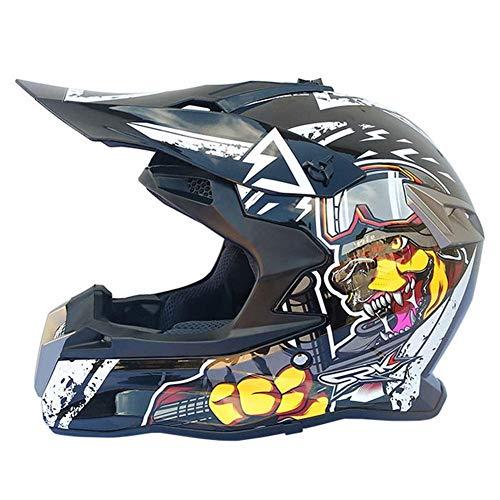 ZHANGZHIYUA Motocross Crash Helmet, Motocicleta Off-Road Racing Downhill Dirt Bikes MTB ATV...