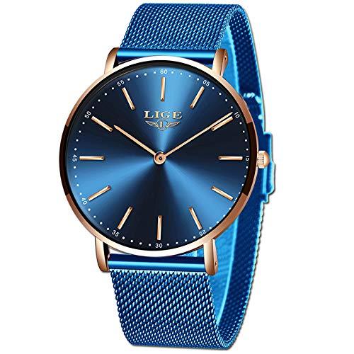 LIGE Montre Homme Luxe Ultra Mince Bleu Analogique Quartz Montre Homme Étanche Acier Inoxydable Automatique Date Montre