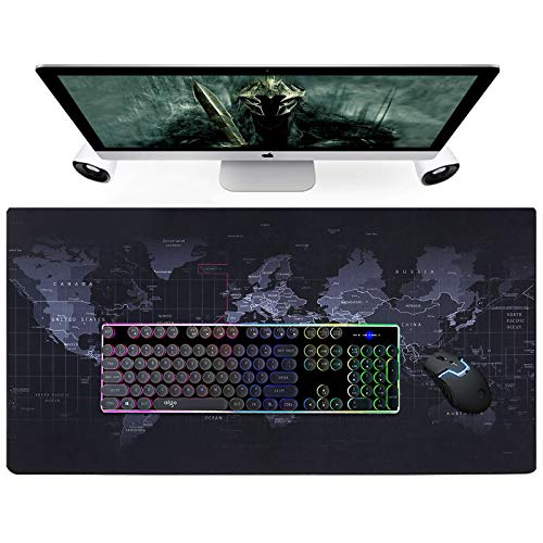 """ONMIER Extended Big Mouse Pad Gaming ,Large Desk Pad World Map , XL Desk Mat Game Mousepad,31.5"""" x 15.7 """" Computer Desk Pad with Non-Slip Rubber Base,Desk Matt for Desktop with Time Zone"""
