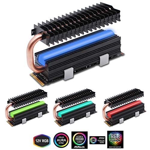 EZDIY-FAB M.2 SSD Kühlkörper mit Heatpipe, 12V RGB SATA NVMe NGFF M.2 Kühlkörper SSD Kühler für 2280 M.2 SSD, mit Wärmeleitpad (SSD Nicht enthalten)