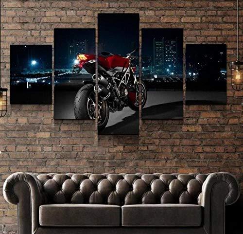 QWASD Ducati Ducati Ducati 5 Piezas Cuadros Lienzo Decoracion Salon Modernos De Pared Papel Pintado Murales Pintura Póster Fotos Regalo