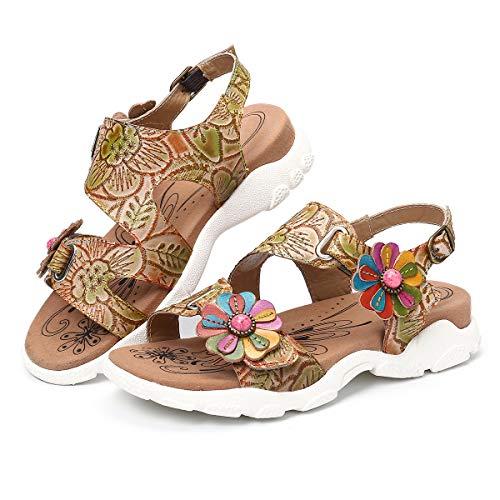 gracosy Damen Leder Wandern Flach Sandalen Strand Atmungsaktiv Wanderschuhe Handgefertigt Schuhe Verstellbare Klettverschluss Gemütliche Barfuß-Gefühl Haken Schleife Knöchelriemen Breite Sandale