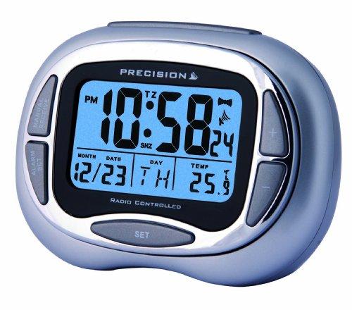 Precision PREC0100 Radio Controlled Alarm Clock with Colour LCD Display, Silver