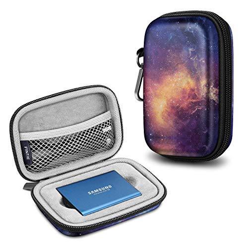 Fintie Tragetasche Hülle für Samsung T5 T3, Kunstleder Harte Eva stoßfeste Tasche Organisator für Samsung T5 / T3 / T1 Tragbar 250GB 500GB 1TB 2TB SSD Externe Solid State Drives, Die Galaxie