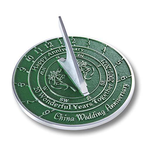 The Metal Foundry 20th China 2021 aniversario de boda reloj de sol regalo de metal reciclado sólido idea de regalo es un gran regalo para él, ella, padres, abuelos o pareja en 20 años de matri