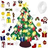 El árbol de Navidad del Fieltro de los 3.3FT DIY fijó + los Ornamentos Desmontables 30pcs, Regalos Colgantes de Navidad de la Pared para Las Decoraciones de la Navidad(Con cinta adhesiva )