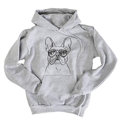 Aviator Franco The French Bulldog Hooded Pullover Sweatshirt Medium Grey