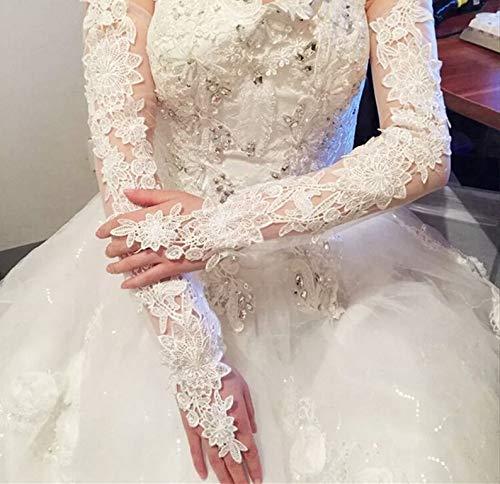 JHLWLS Hochzeitshandschuhe Braut-Spitze-Hochzeits-Handschuhe Verlängerten Brauthandschuh-Weißes Elfenbein-Fingerloses Langes Hochzeits-Zubehör