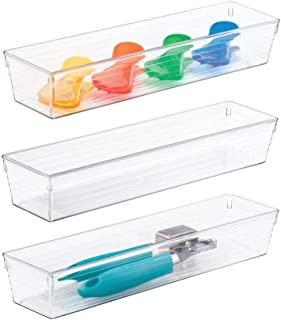 mDesign rangement de cuisine pratique – organiseur de tiroir pour couverts et accessoires de cuisine – boite transparente ...