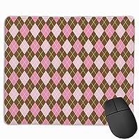 マウスパッド、ステッチエッジ付きマウスパッド、コンピューター用アーガイル滑り止めラバーベースゲーミングマウスパッド