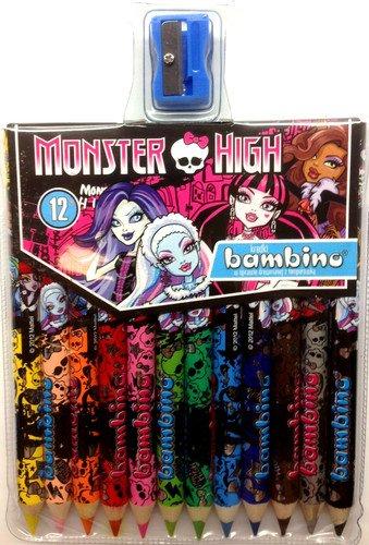 Monster High - 12 Crayons Epais DE Couleur, Bambino,...