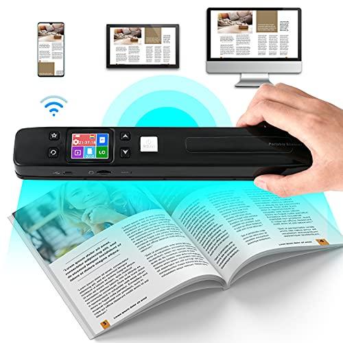 GJCrafts Scanner Portable WiFi Écran LCD au Format JPG/PDF avec Carte Micro SD 16G Scanner de Documents Portable Rechargeable pour Document, Livres, Images, Images