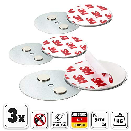 Rauchmelder Magnethalter mit 50mm Ø - 3er Set - Selbstklebend für klein und Mini Rauchmelder - 3M Klebepads mit Magnethalterung zur einfachen Befestigung ohne Bohren und Schrauben