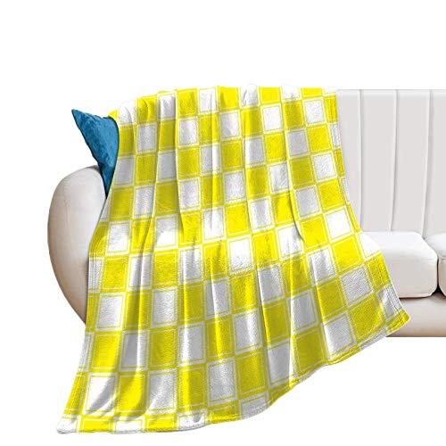 Donghouse Gefütterte Decke Kariertes gelbes und weißes Flanell Decke Komfort Velvet Touch Ultra Plüsch, Neuheit Soft Throw Decken passen Couch Sofa Tagesdecke Bettdecke Bettdecke 40'X 50'