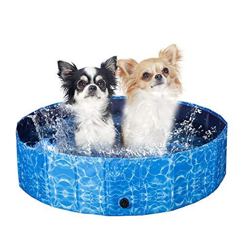 XIAPIA Pool für Hunde und Katzen, faltbar, Badewanne, Badewanne, Badewanne, PVC, rutschfest, Duschzubehör, Sommerspielzeug, für Kinder/Hund/Katze, Tiere, Außen-/Innenbereich, M (80 x 20 cm)