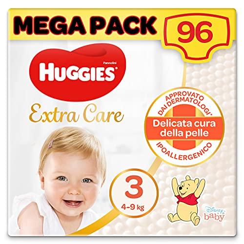 Huggies Extra Care Pannolini, Taglia 3 (4-9 Kg), Confezione da 96 Pannolini