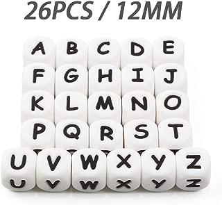 Letras del Alfabeto Granos de Silicona a Granel DIY Haga su Propio Kit Nombre Personalizado 12mm Mix BPA Free Cube Baby Dentición Masticar (26 Pcs)