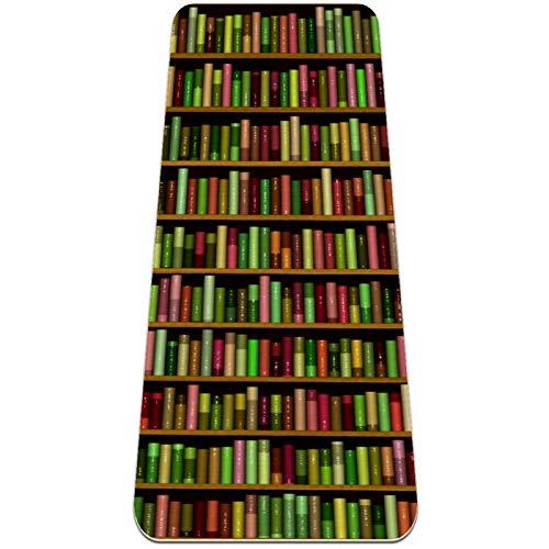 Esterilla Yoga Mat Antideslizante Profesional - Librería llena de libros de diferentes colores. - Colchoneta Gruesa para Deportes - Gimnasia Pilates Fitness - Ecológica