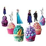Decoraciones para cupcakes de Frozen, 48 piezas, suministros para fiesta de cumpleaños de Frozen, decoraciones para fanáticos de Frozen, fiesta de cumpleaños de niños, fiesta de princesas de nieve