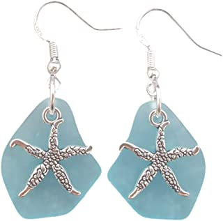 "product image for Handmade in Hawaii,""Twin Starfish"" Turquoise Bay Blue sea glass earrings,""December Birthstone"", (Hawaii Gift Wrapped, Customizable Gift Message)"