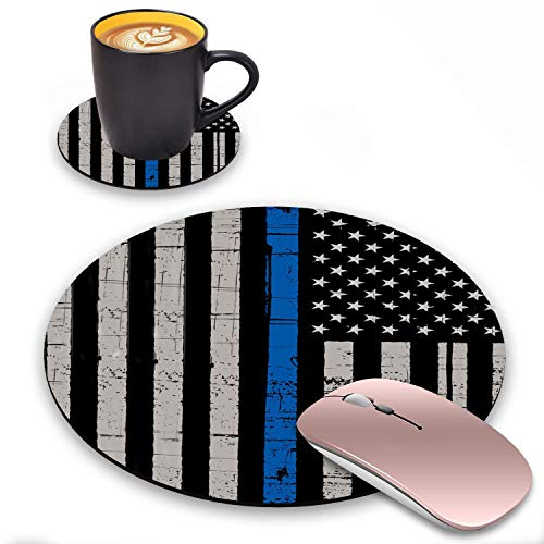 Round Mouse Pad with Coasters Set, Thin Blue Line American Flag Design Mouse Pad, Non-Slip Rubber Base Mouse Pads for Laptop and Computer Office Accessories