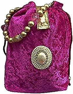 Women Pink Velvet Potli Bag Embroidered Party Dress Wedding