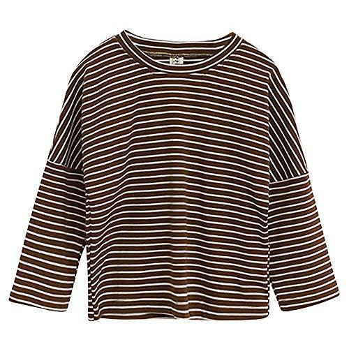Baby Kleinkind Jungen Mädchen Baumwolle Jersey Langarm T-Shirts mit Raglanärmel Rundhals Elastisches Loose Fit Langarmshirt - Gestreift Braun Herstellergr. 80