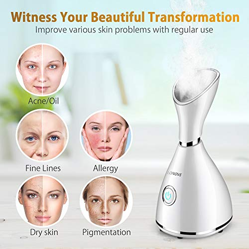 Facial Steamer - LONOVE Nano Ionic Facial Steamer for Face Home Sauna SPA Warm Mist Face Steamer Facial Deep Cleaning Face Humidifier Sprayer for Women Men Moisturizing Cleansing Pores With Stainless Steel Skin Kit and Hair Band