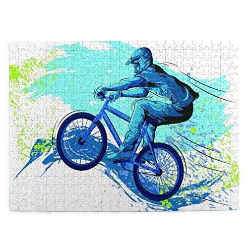 Jigsaw Picture Puzzles 500 Stück,BMX Von Sportsman Radfahren Extreme Bike Freestyle Triathlon Fahrrad Zyklus Schwierigkeiten,Wandkunstwerk Geschenk für Erwachsene,Teenager,Kinder,20.4 x 15Zoll