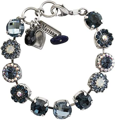 Mariana Silvertone Large Floral Mosaic Floral Crystal Bracelet Blue AB Iridescent 4084 1069 product image