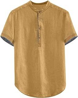 Men's T-Shirt Baggy Solid Cotton Linen Short Sleeve Button Plus Size Loose Tops Blouse