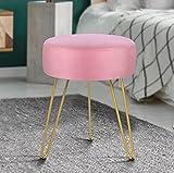 Velvet Soft Modern Vanity Footstool -Round Footrest Stool Ottoman Side Table Seat Dressing with Golden Metal Leg and Sponge Filling ,Upholstered Foot Rest, for Living Room and Bedroom  Pink