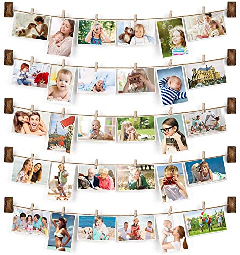 Emfogo Collage Picture Frames Hanging Photo Display Rustic Wood Photo...