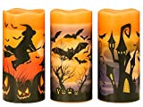 Wondise Halloween Flickering Flameless Candles with 6 Hour Timer, Battery Operated LED Real Wax Candles Set of 3 Bats, Castle, Witch Decal for Christmas Halloween Home Decoration Gifts(3 x 6 Inch)