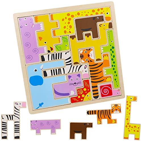 モンテッソーリ 知育玩具 テトリス 木製パズル おもちゃ 動物 積み木 ブロック おもちゃ 脳トレ ジグソーパズル 男の子 女の子 1 2 3 4 5 6 歳 クリスマス 誕生日 プレゼント ギフト 贈り物