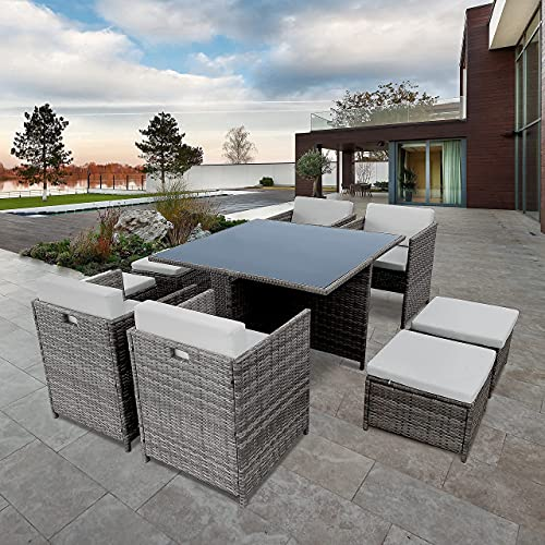 KEPLIN 9pc Rattan Garden Furniture Set – Outdoor Lounger Sofa, Chairs and Table Bistro Set for Lawn, Patio, Inside Conservatory – Easy to Store, Stackable, Ideal for Dining in the Sun - GREY