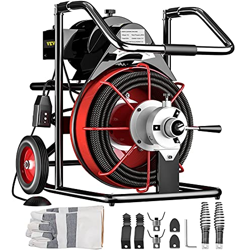 Mophorn 100 Ft x 1/2Inch Drain Cleaner Machine fit 2 Inch (50mm) to 4 Inch(100mm) Pipes 550W Open Drain Cleaning Machine 1700 r/min Electric Drain Auger with Cutters Glove Drain Auger Sewer Snake