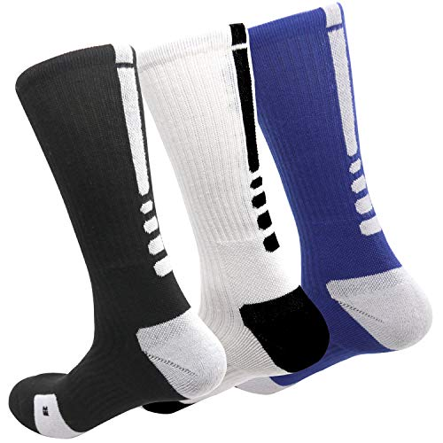 MUMUBREAL Men's Cushioned Compression Sport Socks, Black White Blue, One Size (3pack)