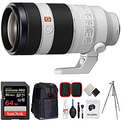 Sony FE 100-400mm f/4.5-5.6 GM OSS Full Frame E-Mount Lens (SEL100400GM) + 64GB Accessories Bundle Includes, 64GB Memory Card, Photo Camera Sling Backpack, 60 Video Tripod & All-in-One Cleaning Kit from Sony