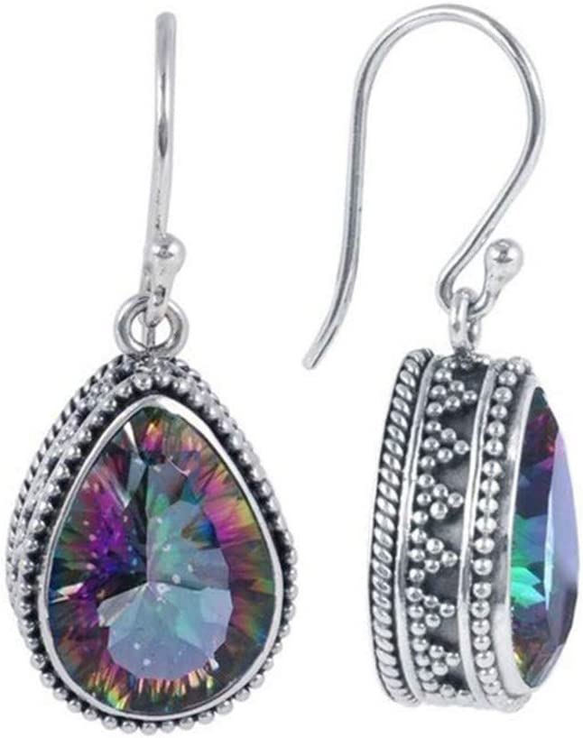 Myhouse Vintage Colorful Natural Stone Drop Dangle Earrings Jewelry Gift for Women