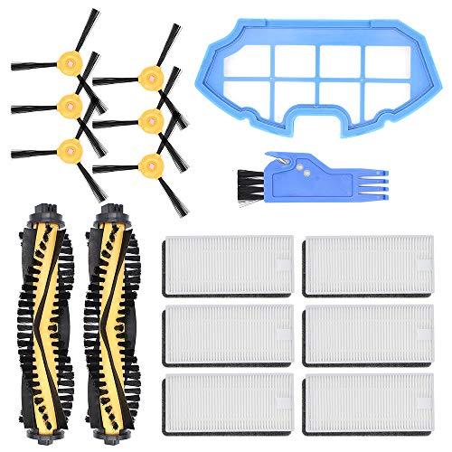 DingGreat Kit de Recambios de Accesorios para Aspiradora Ecovacs Deebot N79 N79S, Paquete de 2 cepillos Principales, 6 filtros, 6 cepillos Laterales, 1 Filtro primario,1 Cepillo de Limpieza