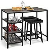 Giantex 3 Piece Dining Table Set, Counter Height Pub Table & Chairs Set, 3 Tier Storage Shelves, Kitchen Table Set, Industrial Bar Table with 2 Pub Stools Upholstered, 47 x 23.5 x 36 Inch