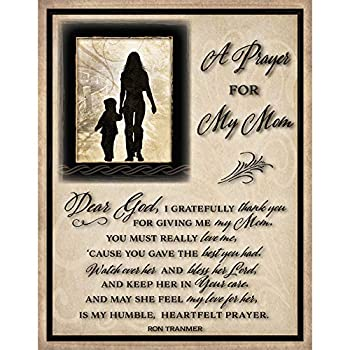 Mom Mother Prayer Wood Plaque with Inspiring Quotes 11.75 x15  - Classy Vertical Frame Wall Decoration | Keyhole on Back for Hanging | Dear God I Gratefully Thank You for Giving me My Mom