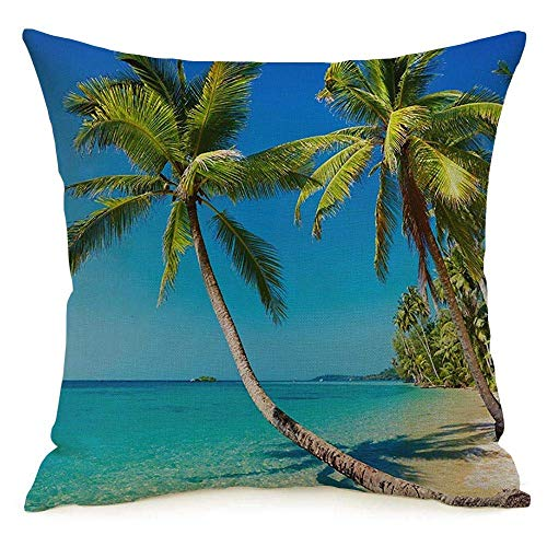 Funda de almohada decorativa de lino con diseño cuadrado, Tailandia, playa tropical, isla de Kood, naturaleza costera, cielo, recompensas, parques, diseño al aire libre, selva, tranquilidad, funda de