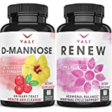 D Mannose 1000 mg Urinary Tract Health - Triple Strength Organic Cranberry 50:1 Concentrate & Hibiscus & PMS Relief Supplement Premenstrual Cycle Support - Herbal Formula Complex