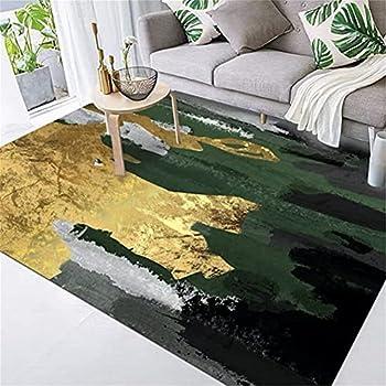 ZIJIAGE Modern Carpet,Area Rug,Abstract Light Luxury Emerald Green Gold Gray Floor mat,for Bedroom,Bedside,Living Room,Decorative Carpets,160230CM