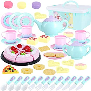 Toys Tea Set 52 Pieces Party Play Food for Kids,Princess Tea Time Toy Set Including Dessert,Cookies,Tea Party Accessories Toy for Toddlers,Boys Girls